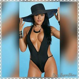🆕Zip-Front Monokini -Black Halter neck Swimsuit